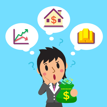 investing: Cartoon businesswoman holding money bag with different investing options
