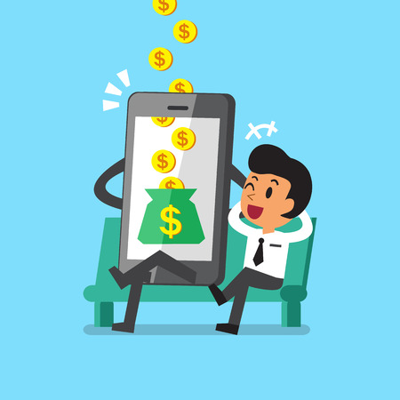 money cartoon: Business concept cartoon smartphone help businessman to earn money