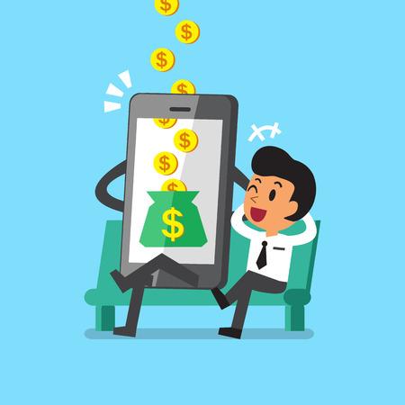 Business concept cartoon smartphone help businessman to earn money