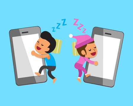 satire: Cartoon man and woman sleeping with smartphones
