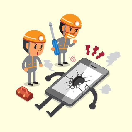 Cartoon technicians and a broken smartphone