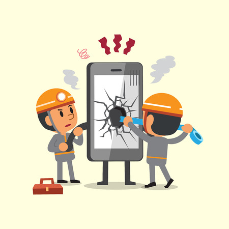 broken telephone: Cartoon technicians repairing a broken smartphone Illustration