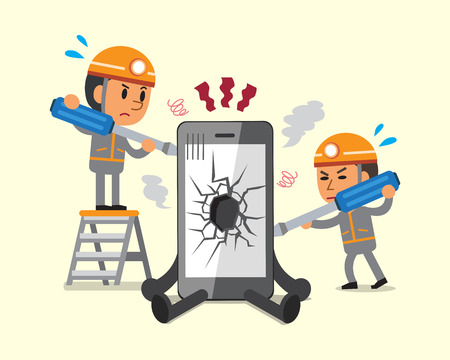 broken telephone: Cartoon technicians repairing smartphone broken smartphone