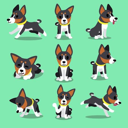 puppy cartoon: Set of cartoon character basenji dog poses Illustration