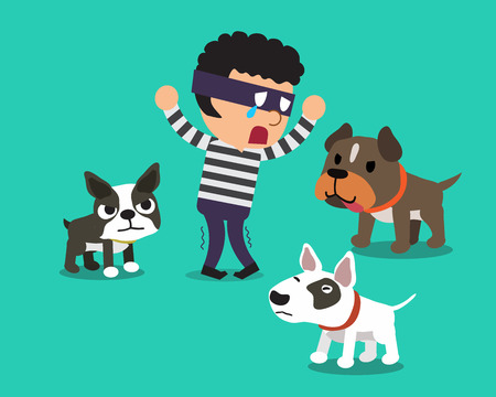 Cartoon a thief and dogs