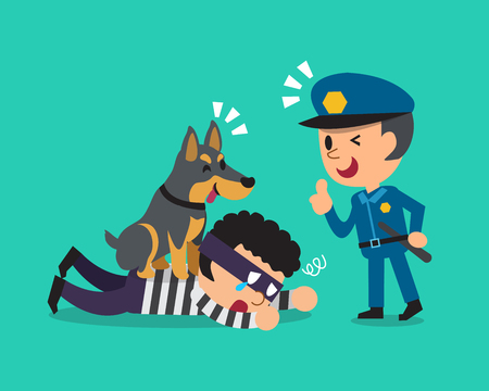 Cartoon doberman dog helping policeman to catch thief