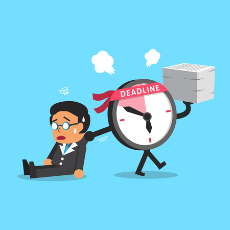 dragging: Cartoon deadline clock character dragging businessman Illustration