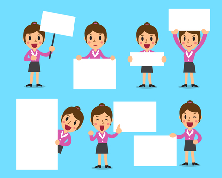 raise the thumb: Cartoon set of businesswoman with blank white banner