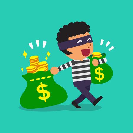 escape plan: Cartoon thief carrying money bags