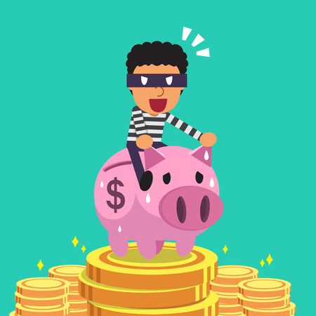 rob: Cartoon thief riding pink piggy bank with money background Illustration