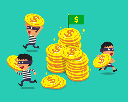 escape plan: Cartoon thieves with big coins