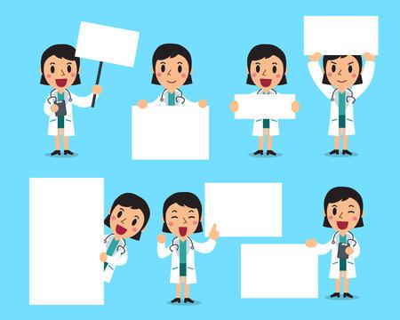 Set of female doctor with blank white banner Vector Illustration