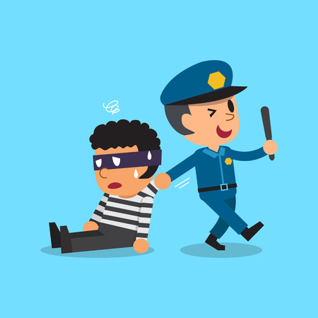 Cartoon policeman and thief