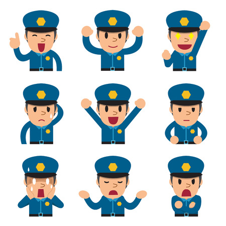 police cartoon: Cartoon policeman faces showing different emotions