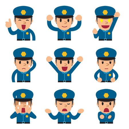 politieagent cartoon gezichten met verschillende emoties