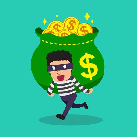 Cartoon a thief carrying big money bag Illustration