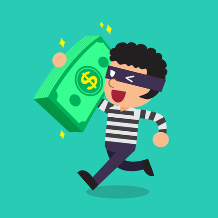 escape plan: Cartoon a thief carrying big money stack Illustration