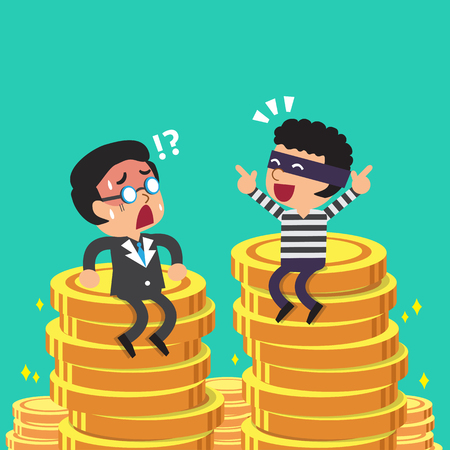Cartoon businessman and thief with money coins stacks