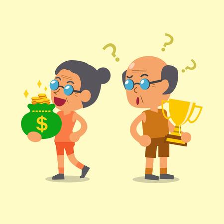 woman holding money: Cartoon sport senior man holding trophy and senior woman holding money bag