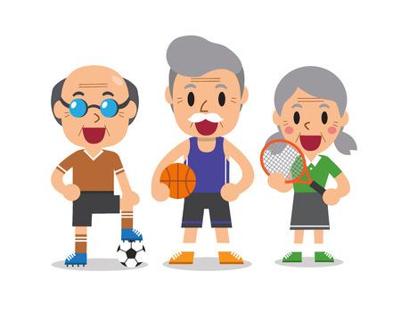 Cartoon anziano sportive persone