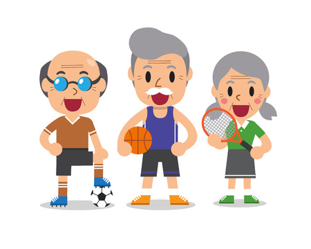 Cartoon senior sport people Ilustrace