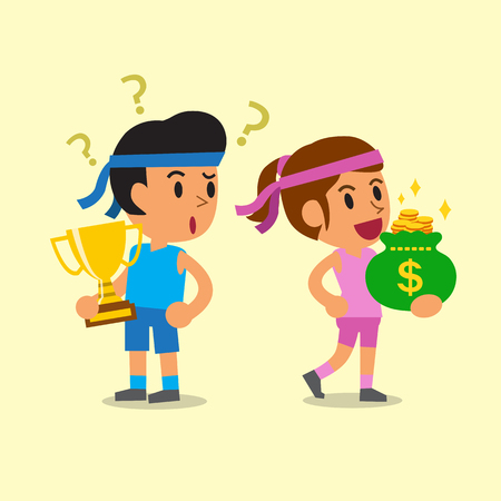 woman holding money: Cartoon sport man holding trophy and sport woman holding money bag Illustration