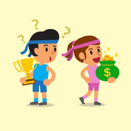 deporte de la historieta trofeo holding hombre y de la mujer del deporte que sostiene bolsa de dinero Ilustración de vector