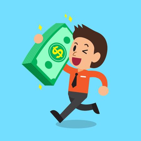 大きなお金のスタックを運ぶ漫画実業家