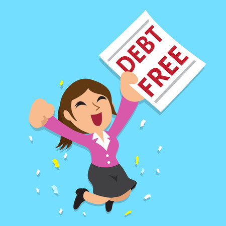 Cartoon businesswoman with debt free letter Çizim