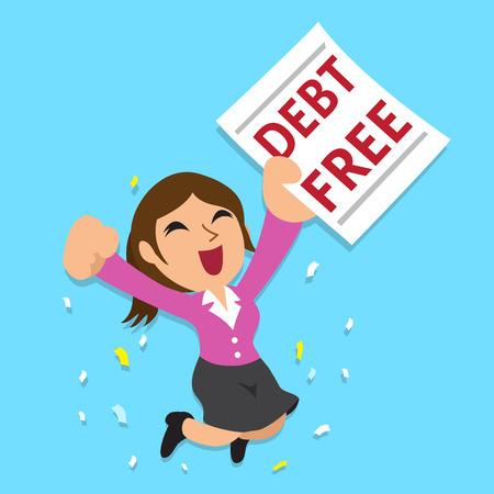 zakenvrouw van het beeldverhaal met schulden letter