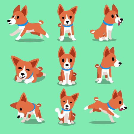 cartoon dog: Cartoon character basenji dog poses Illustration