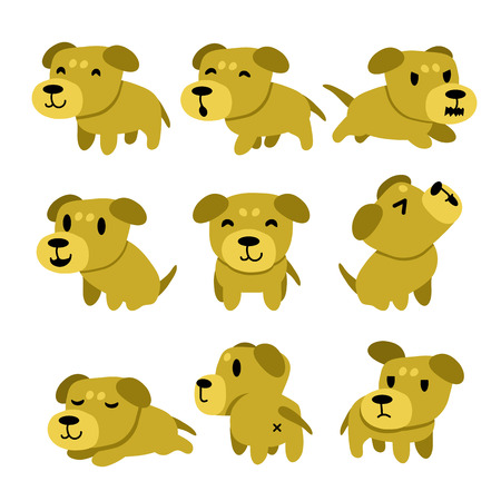 sprite: Cartoon character dog poses set