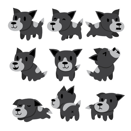 whine: Cartoon character gray dog poses