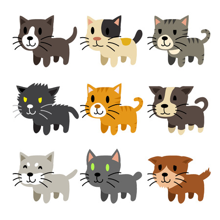 bombay: Set of cartoon cats