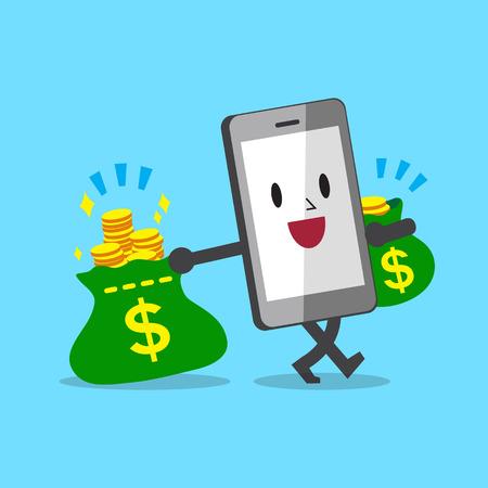 money bags: Cartoon smartphone carrying money bags
