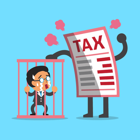 prisoner of the money: Cartoon big tax letter with businessman in prison Illustration