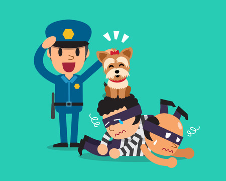 Cartoon a cute dog helping policeman to catch thieves