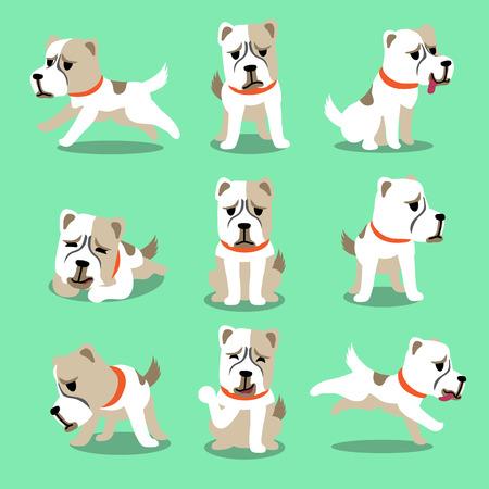 alabai: Cartoon character alabai dog poses set