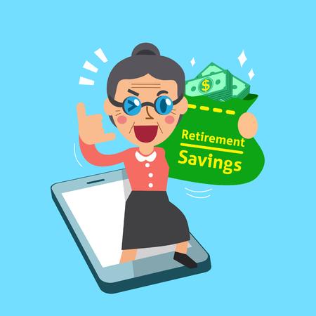 earning: Cartoon senior woman earning money with smartphone