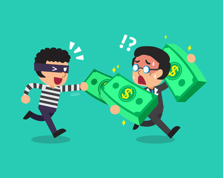 stealing: Cartoon a thief stealing money from businessman