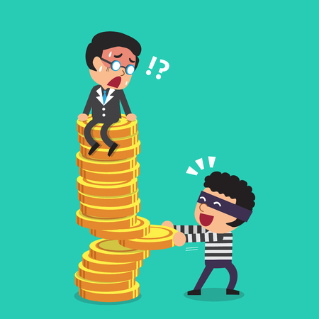 Cartoon businessman and thief with money coins stack