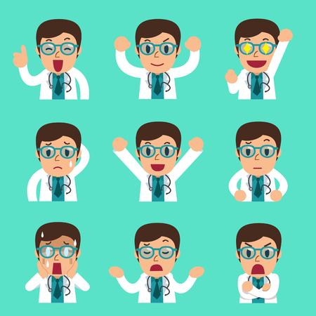 Cartoon mannelijke arts gezichten met verschillende emoties