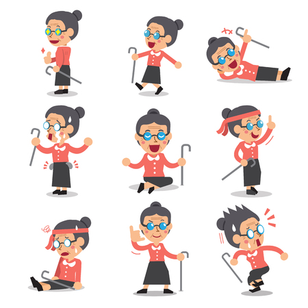 old person: Cartoon senior woman character poses Illustration