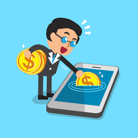 earning: Cartoon a businessman earning money with smartphone