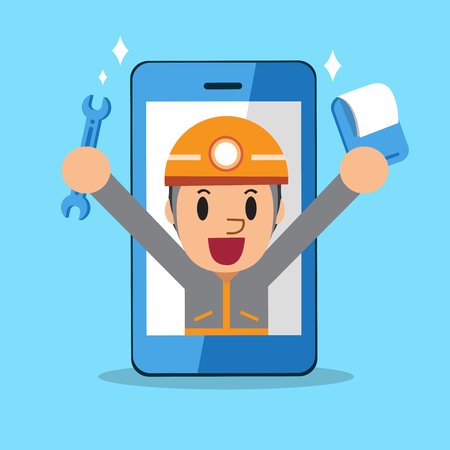 technician: Cartoon service technician with smartphone Illustration