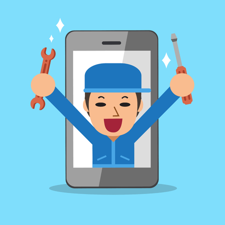 technician: Cartoon smartphone service technician Illustration