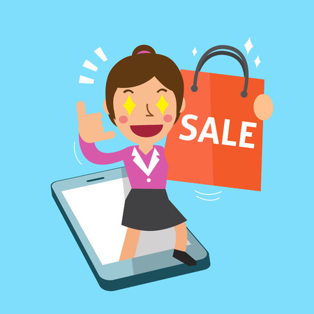 go to the shopping: Cartoon woman go shopping with smartphone