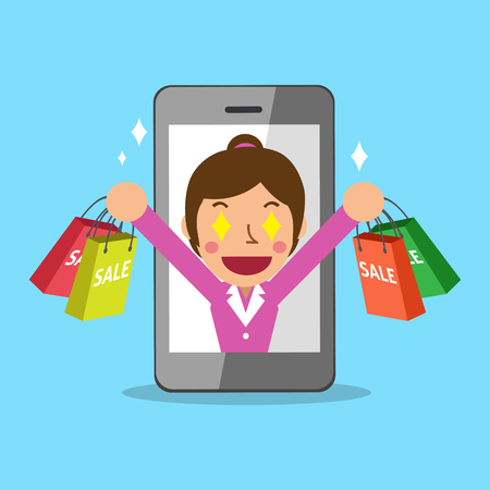 go to the shopping: Woman go shopping with smartphone