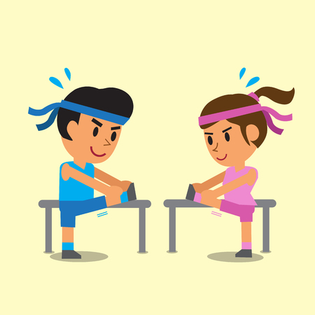 Cartoon man and woman doing hamstring stretch exercise