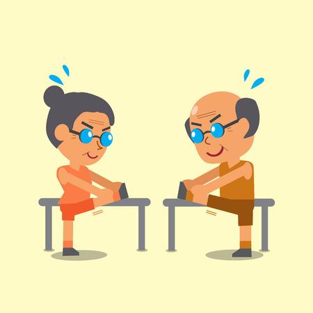 Cartoon senior man and senior woman doing hamstring stretch exercise Illustration